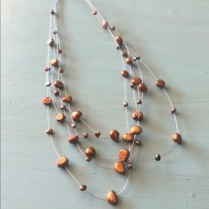 Brown Stone Layered Wire Necklace
